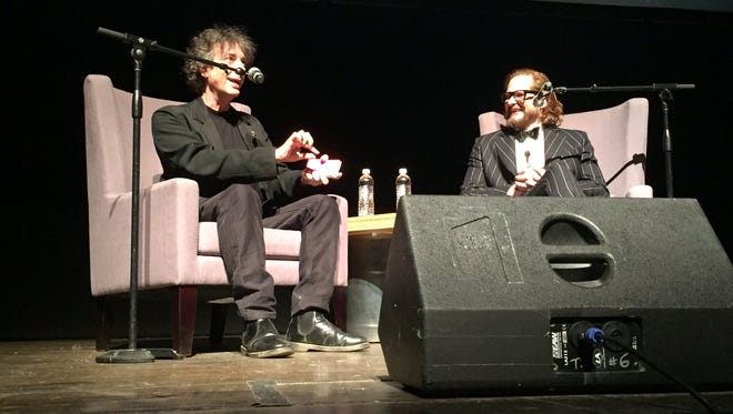 """Bard College professor and author Neil Gaiman talks with """"American Gods"""" executive producer Bryan Fuller after the screening. Gaiman pitched the show to Fuller in a Toronto hotel."""