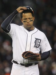 Tigers superstar Miguel Cabrera trots to his position at first base after grounding out to end the eighth inning. He went 0-for-4 in the season's final game as for the fourth straight year the Tigers reached the playoffs but failed to win the World Series.