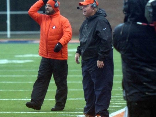 Mike Turner coaches Carson-Newman from the sidelines in Saturday's game in Jefferson City against Tusculum College.