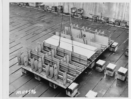 Keel laying, showing the first section of the keel