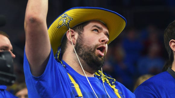 SDSU's student section cheers during the game against