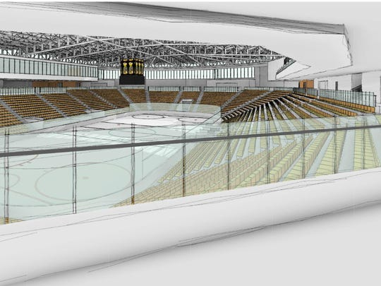 An early artist's rendering of the interior of the proposed arena on Coralville's Iowa River Landing.