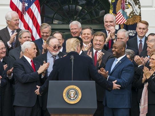 Trump Senate Republicans hold rally after passage of tax plan (3)