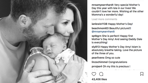 Dale Jr. and Amy Earnhardt share first photos of newborn daughter on Mother's Day
