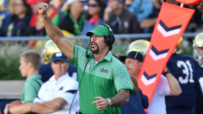 Sep 10, 2016; South Bend, IN, USA; Notre Dame Fighting Irish defensive coordinator Brian VanGorder signals to his players in the third quarter against the Nevada Wolf Pack at Notre Dame Stadium. Notre Dame won 39-10. Mandatory Credit: Matt Cashore-USA TODAY Sports