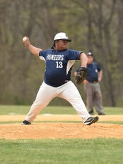 Poughkeepsie High School's Marcus Blocker throws a pitch during an April 22 game against Franklin D. Roosevelt.