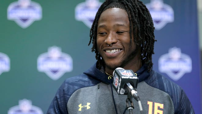 Tennessee running back Alvin Kamara speaks during a news conference at the NFL football scouting combine on March 2, 2017, in Indianapolis.