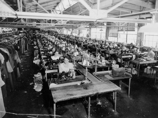 One of the stitching rooms at Endicott Johnson, around 1935.