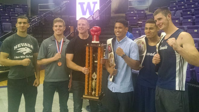 Nevada boxers, left to right, Dre Gordon, Zach Smith,Tristan Harriman, JJ Mariano, Kirk Jackson and Garrett Felling.