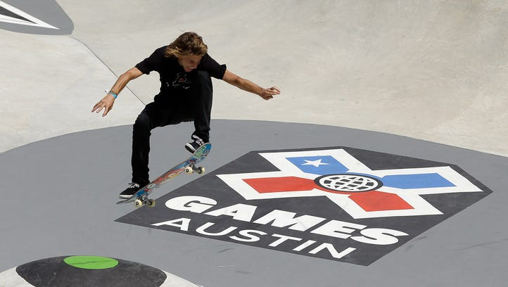Corey Anderson, of Lincoln Park rail slides during a free party held in support of Detroit's last X-Games bid in 2013. Detroit lost the games to Austin.