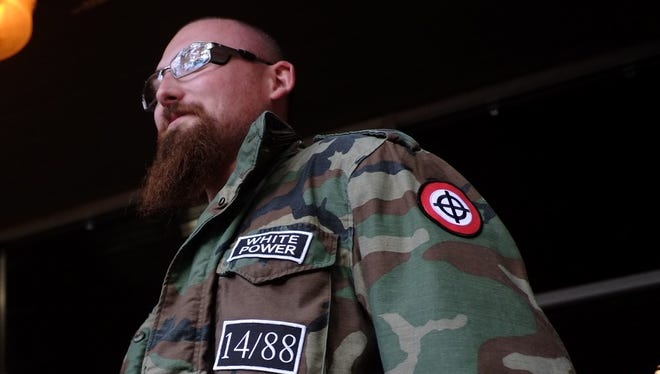 A White supremacist from Stormfront attends the Stormfront summit in Crossville on Saturday, Sept. 30, 2017.