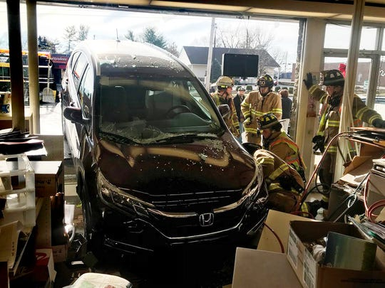 West Manchester Township Fire Chief Clif Laughman said no one was hurt when an 86-year-old New Salem woman crashed her SUV into Super Shoes on West Market Street about 10 a.m. Friday, Dec. 8, 2017.
