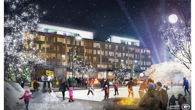 An artist's conceptual rendering shows the Titletown District public plaza with ice skating rink and Lodge Kohler in the background. Final designs might differ.
