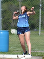 Adena's Alexis Putnam competes in the girls shot put Monday during day one of the Scioto Valley Conference Track and Field Meet at Southeastern High School.