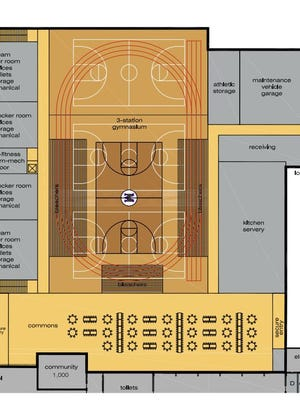 Proposed renovations to the gymnasium in the Mosinee High School and Mosinee Middle School. The April 5, 2016, funding referendum did not get voter approval to advance this renovation and others.