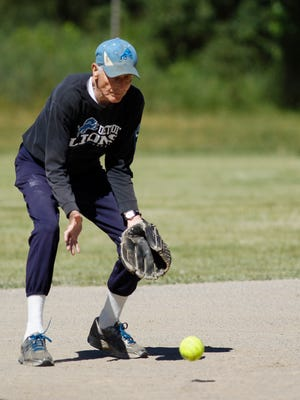 Jim Buysse, 85, of Lansing works second base June 21, 2017, during a game against Farm Bureau in Lansing Parks and Recreation's 70+ league at Gier Park.  He figures he's been playing ball since about 1946.