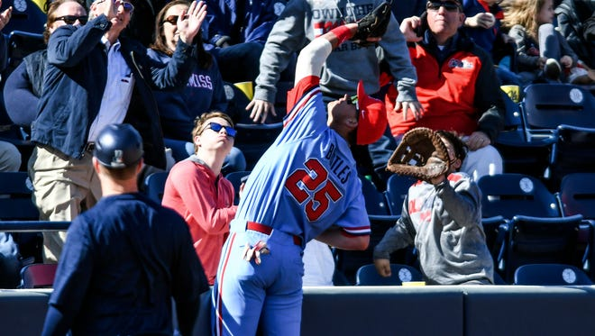 Ole Miss third baseman Colby Bortles (25) hit a home run and drove in three runs in the Rebels' 8-6 win Sunday.