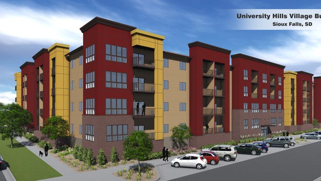 This architectural rendering shows the design for the second apartment building that will be part of University Hills Village.