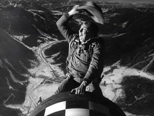 "Slim Pickens corrals a nuclear warhead in the black comedy ""Dr. Strangelove: Or How I Learned To Stop Worrying and Love the Bomb"""