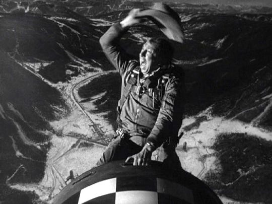 """Slim Pickens corrals a nuclear warhead in the black comedy """"Dr. Strangelove: Or How I Learned To Stop Worrying and Love the Bomb"""""""