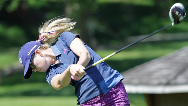 Paula Creamer tees off from the 18th tee while practicing at the Westchester Country Club on Tuesday. The 2015 KPMG Women's PGA Championship will be held there.