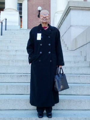 Etta Myers at a February 2016 rally in Annapolis, to override the governor's veto of a bill restoring voting rights for ex-offenders.