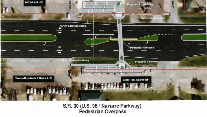 Santa Rosa County is considering building a pedestrian walkway over U.S. 98 in Navarre between Presidio and Luneta streets, but other options may be considered after concerns with a loss of parking at Navarre Park.