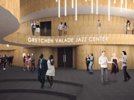 Renderings show the future Hilberry Gateway Performance Complex at Detroit's Wayne State University, including the renovated Hilberry Theater and new Gretchen Valade Jazz Center. 