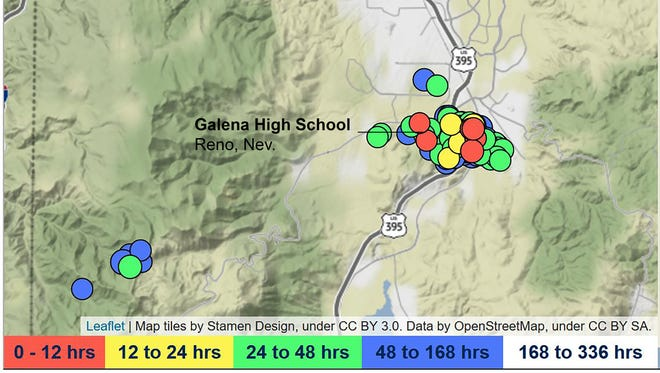 The Nevada Seismological Laboratory's mapping of the earthquake swarm south of Reno as of noon PT Jan. 18, 2018.