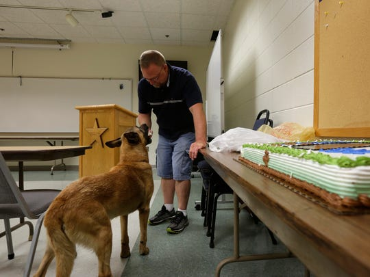 Portage County Sheriff's deputy Dan Wachowiak feeds his police dog Baco a dog ice cream cone during a retirement party for the dog, September 7, 2016.
