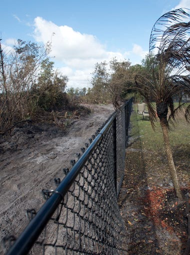 """Our whole preserve is gone. We used to sit out here and watch the birds,"" said homeowner Lisa Jeffreys, of Port St. Lucie on Friday, March 30, 2018, who was forced to evacuate her home with her husband Mitch Jeffreys because of the 70-acre Luck Wildfire the previous evening. The family sustained damage to trees, fences and their trampoline, in addition to losing their lush, green view of the preserve behind their home. ""We had a family of raccoons. I'm so worried. What happened to them? It (the preserve) was beautiful and now look at it, it looks like a war zone,"" Lisa Jeffreys said."