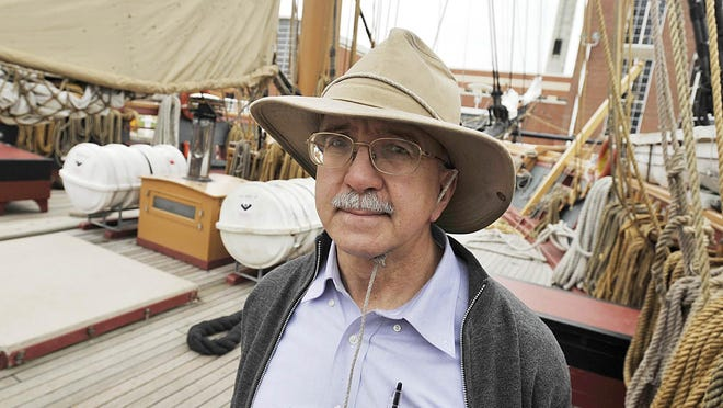 Walter Rybka, senior captain of the U.S. Brig Niagara, was photographed aboard the vessel following maneuvers in Presque Isle Bay after a gun salute for the Perry 200 celebrations in Erie on April 30, 2012.
