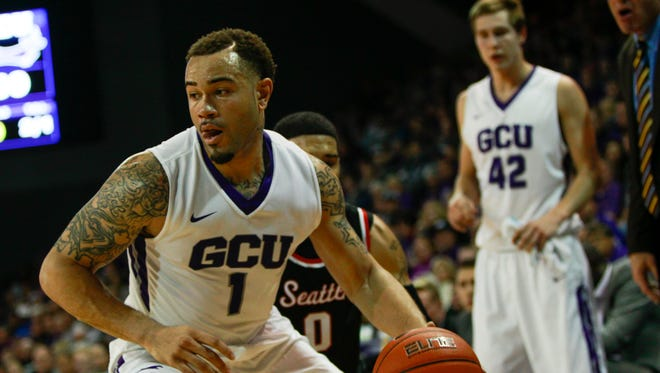Grand Canyon forward Grandy Glaze drives to the basket against Seattle on Saturday, Jan. 30, 2016, at GCU Arena in Phoenix, Ariz.