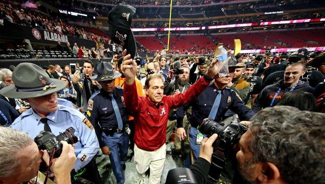 Jan 8, 2018: Alabama Crimson Tide head coach Nick Saban celebrates after beating the Georgia Bulldogs in the 2018 CFP national championship college football game at Mercedes-Benz Stadium.
