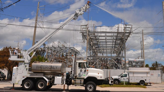 On the Tuesday after Hurricane Irma hit Brevard, FPL was making the rounds to substations with a presssure washer to wash off salt build up on conductors.