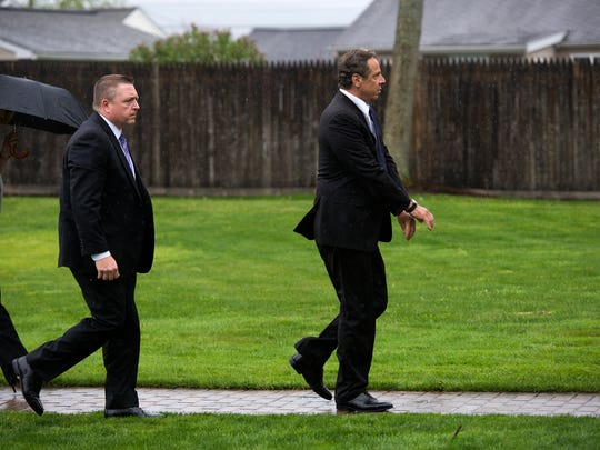 Gov. Andrew Cuomo arrives at Church of The Holy Family in Endwell to pay his respects to Sen. Thomas Libous on Friday, May 6, 2016.