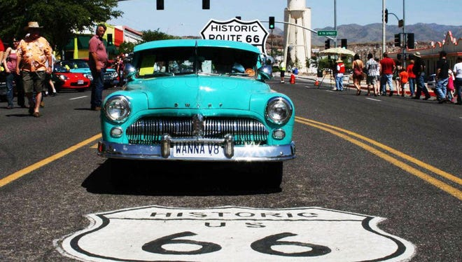 The Route 66 Fun Run travels  along the 140-mile stretch from Seligman to Topock.