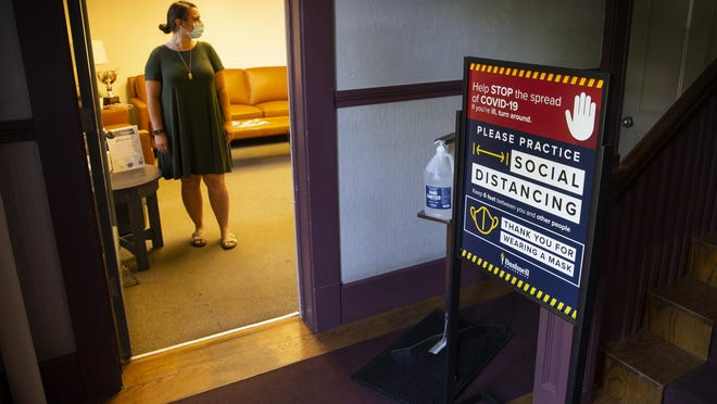 Bushnell University Student Life Office Manager Katie Wright is set to welcome students back to the renamed school with new social distance protocols in place. [Chris Pietsch/The Register-Guard] - registerguard.com