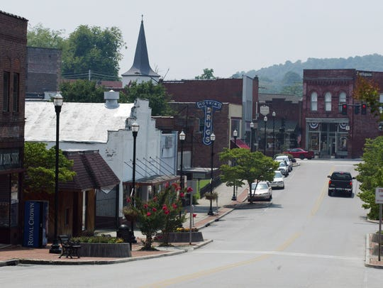 A variety of stores line downtown Clinton on Market