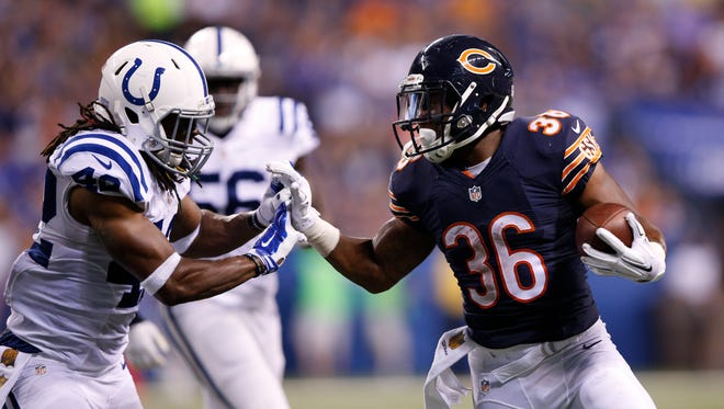 Jeremy Langford of the Chicago Bears runs against the Indianapolis Colts on Aug. 22, 2015, in Indianapolis.