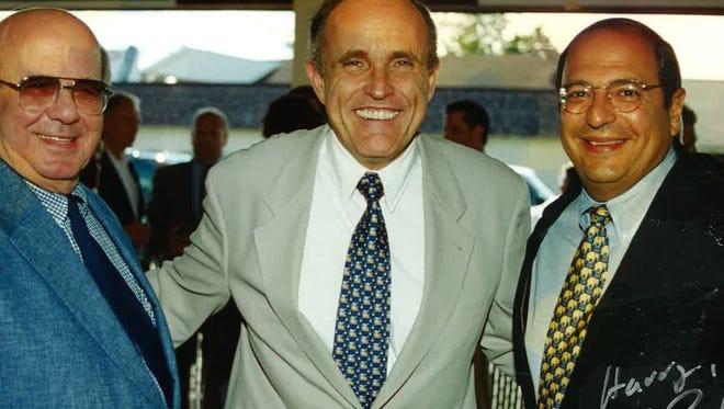 Harry Kradjian, left, with former New York City mayor Rudy Giuliani and former state Sen. Thomas Libous.
