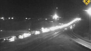 Traffic backs up on Interstate 71 northbound in Boone County follow a one-car crash that forced a closure of the roadway.