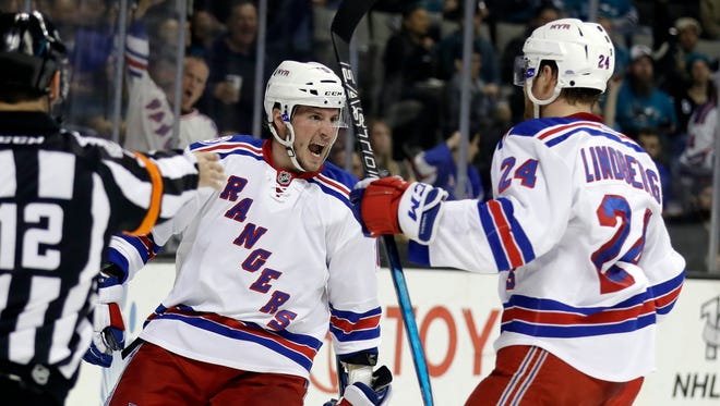 New York Rangers' J.T. Miller, left, celebrates his goal with teammate Oscar Lindberg (24) during the first period against the San Jose Sharks on Tuesday, March 28, 2017, in San Jose, Calif.