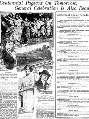 Indiana Centennial pageant celebration in Oct. 1, 1916, Indianapolis Star.