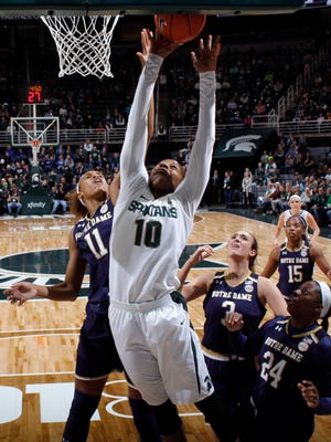 Michigan State's Branndais Agee (10) shoots against against Notre Dame's Brianna Turner (11), Marina Mabrey (3), Arike Ogunbowale (24) and Lindsay Allen (15) Tuesday, Dec. 20, 2016, in East Lansing, Mich.