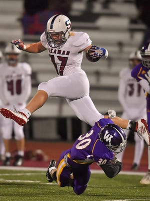 Seaman senior Nathan Zeferjahn (17) returns for the Vikings as a two-way starter and second-team All-Centennial League punter in 2019. [File photograph/The Capital-Journal}