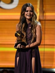 Maren Morris accepts Best Country Solo Performance during the 59th Annual Grammy Awards at Staples Center.