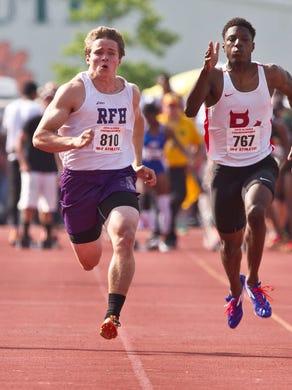 Rumson-Fair Haven's Charlie Volker wins the 100 meter in 10.81. Track & Field Meet of Champions at Jost Field in South Plainfield.South Plainfield, NJWednesday, June 03, 2015Doug Hood/Staff Photographer@dhoodhood