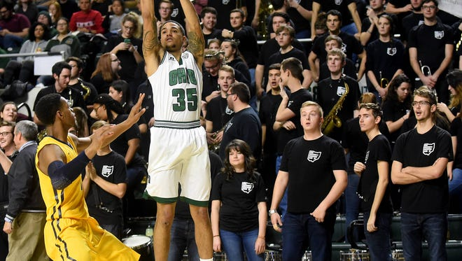 Newark graduate Jordan Dartis, shown here earlier in his career, became Ohio University's all-time leading 3-point shooter on Saturday.