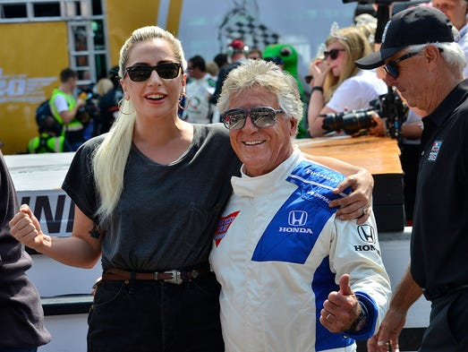 Lady Gaga and Mario Andretti before the start of the